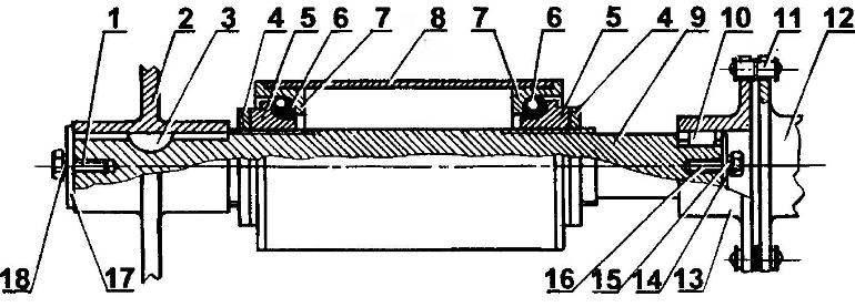 Правый (ведущий) подшипниковый узел