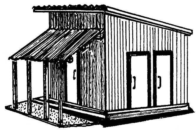 Временный склад (сарай) с навесом