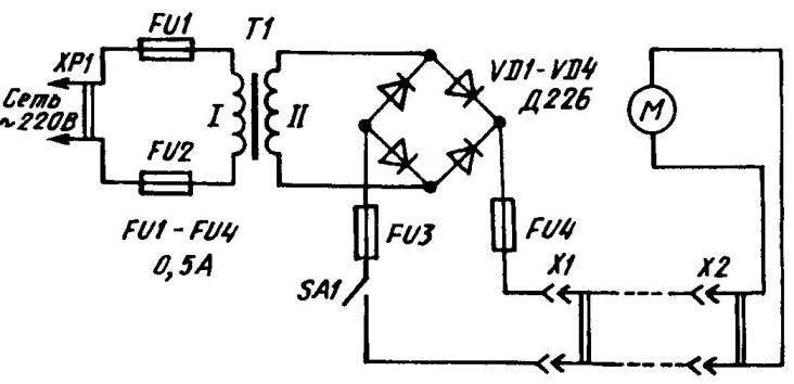 Принципиальная электрическая схема самодельной электрокосилки