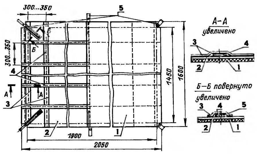 Развертка пола (слева — вид снизу, справа — вид сверху)