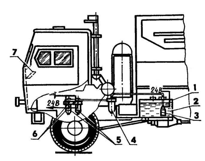 Схема размещения комплекта позисторных подогревателей на КамАЗе