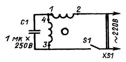 Схема включения электродвигатели КД-25