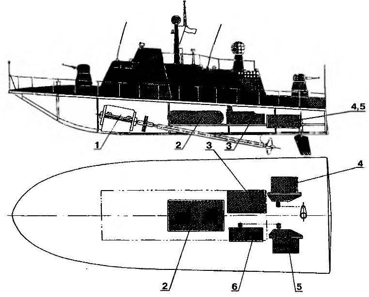 Схема размещения в корпусе судомодели аппаратуры дистанционного управления