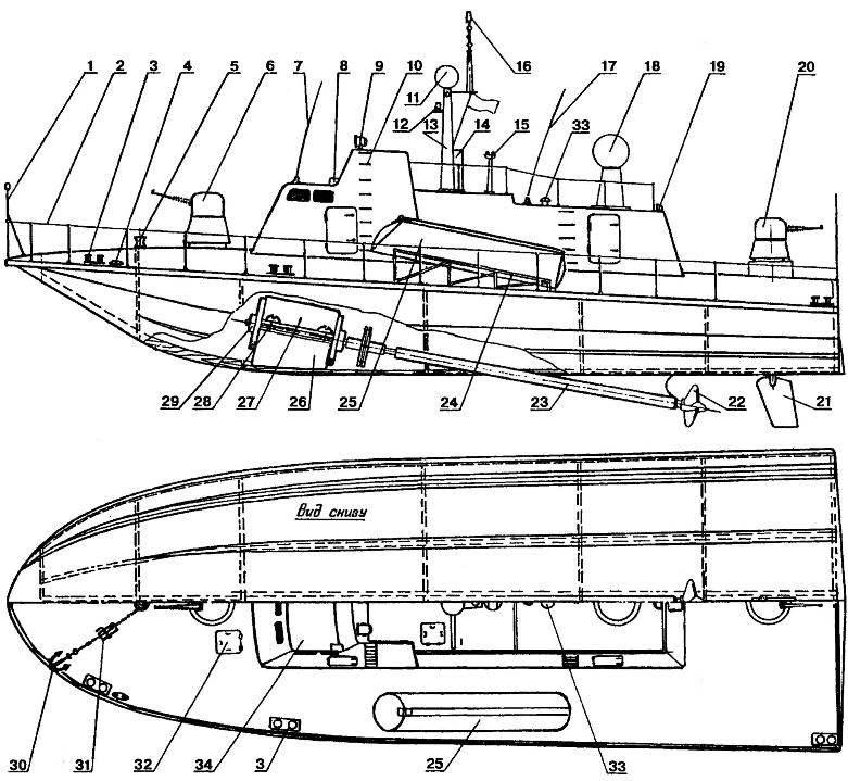 Радиоуправляемая модель-полукопня ракетного катера