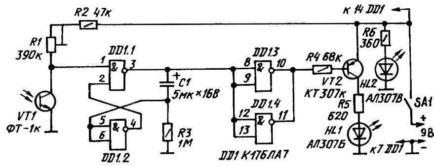 Принципиальная электрическая схема фотомишени