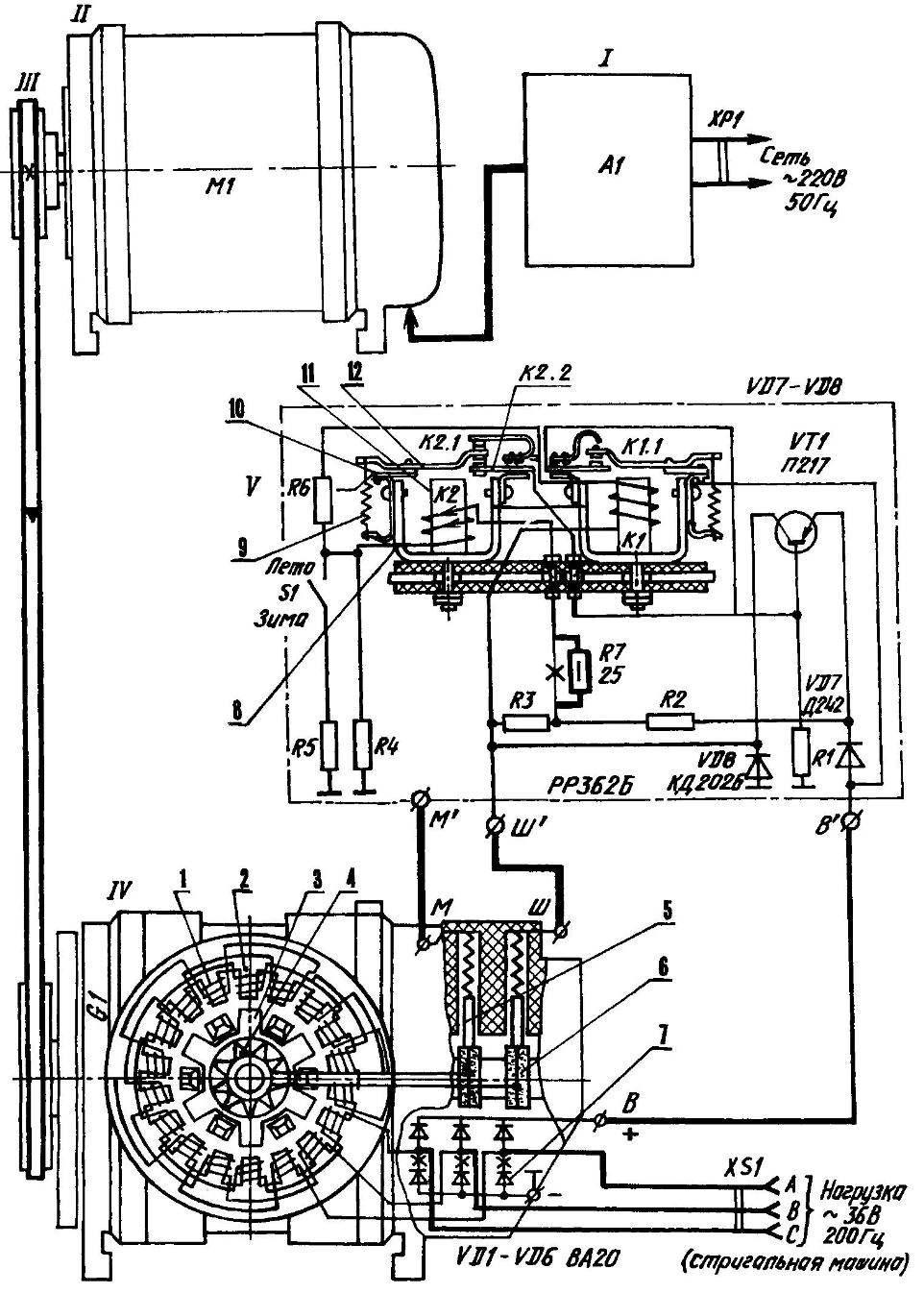 Кинематика и электромонтажная схема преобразователя энергии для питания трехфазного электродвигателя стригальной машинки или иных устройств (200 Гц, 36 В, 100 Вт, 12 ООО об/мин) от бытовой однофазной сети