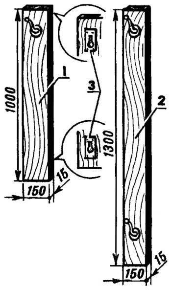 Рис.5. Вешалки: 1 — малая; 2 — большая; 3 — металлические петли подвески