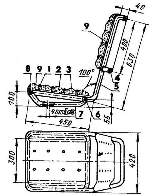 Кресло (детали каркаса выполнены из стальной трубы 20x2 мм)