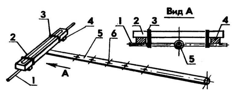 Способ выполнения крепежных отверстий в несущей стреле при изготовлении многозлементной антенны типа «волновой канал»: 1 — вспомогательный пруток; 2 — строительный уровень; 3 — крепежное кольцо; 4 —• подкладка; 5 — несущая стрела; 6 — накерненный центр будущего крепежного отверстия (количество — в соответствии с числом элементов антенны, включая активный вибратор)