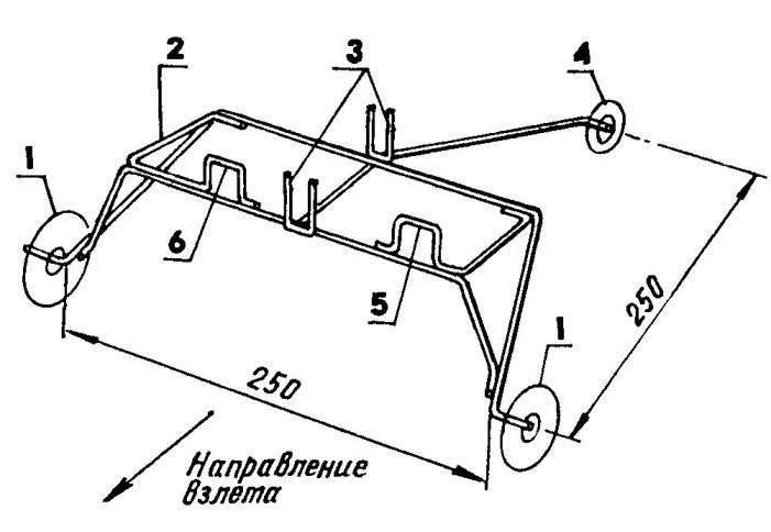 Взлетное устройство: 1 — переднее колесо (d40...60); 2 — горизонтальная рамка для крыла (200x100, проволока ОВС d2...3); 3—ложементы для фюзеляжа (30x10, проволока ОВС d2...3); 4 — заднее колесо (d25...40); 5,6 — упоры для крыла (высота 20). Вспомогательные подкосы к оси заднего колеса условно не показаны.