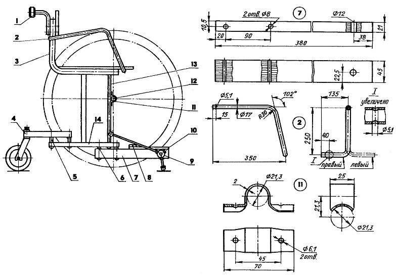 Кресло-коляска (в стояночном положении; ходовые колеса показаны условно)