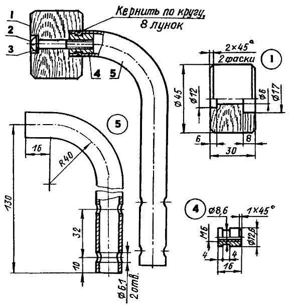 Рукоятка: 1 — бобышка (дерево); 2 — винт М6х45; 3 — шайба; 4 — фигурная гайка М6 (СтЗ); 5 — поручень (труба 17x2,2)