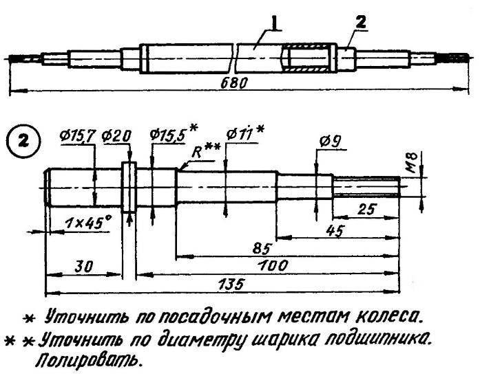 Вал ходовых колес: 1 — корпус (труба 21,3x2,8); 2— цапфа (сталь У7, У8 или 40Х, 2 шт.)