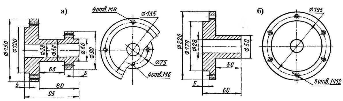Ступицы (сталь 45): а — колеса; б — звездочек промежуточного вала