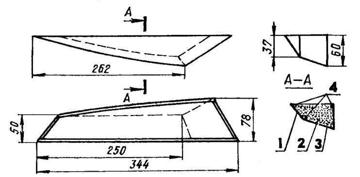 Боковой поплавок: 1 — обшивка скулы (фанера или липовый шпон s1); 2 — заполнение (упаковочный пенопласт); 3 — днище (фанера или липовый шпон s1); 4 — стрингеры (сосна, рейка 3x3)