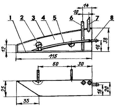 Топливный бак: 1 — нижняя крышка (жесть s0,3); 2 — винт М3 крепления бака к пилону (припаять к баку); 3 — верхняя крышка бака (жесть s0,3); 4 — обечайка (жесть s0,3); 5 — штуцер подачи топлива (силиконовая трубка); 6 — заправочный штуцер (медь, трубка 3x0,5); 7— дренажный штуцер (медь, трубка 3x0,5); 8 — штуцер (медь, трубка 3x0,5)