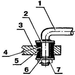 Типовая конструкция шарнира тяги управления