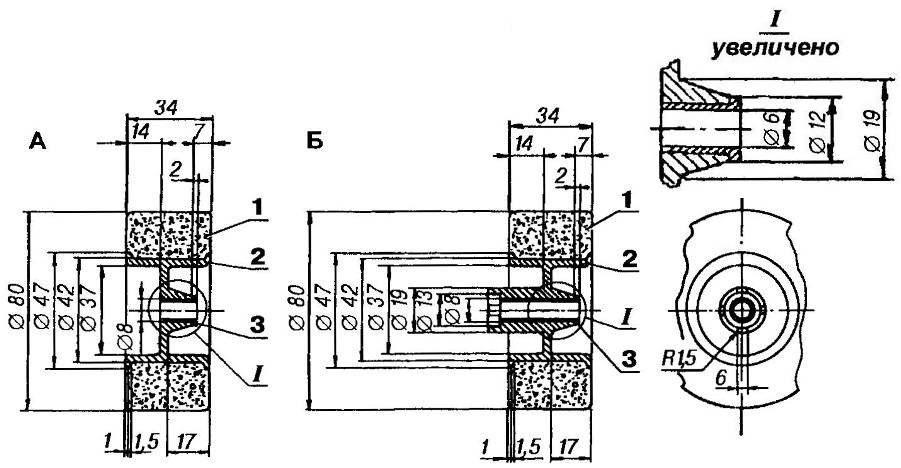 Переднее (А) и заднее (Б) колеса модели