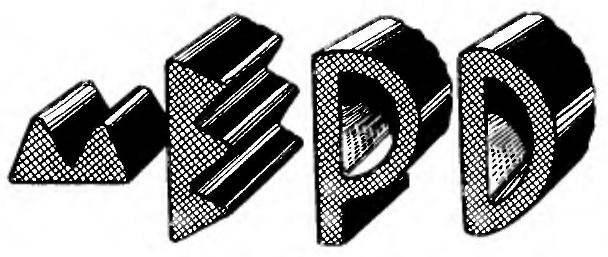 Типовые профили уплотнителей (М,Е,Р,0) из пористой резины