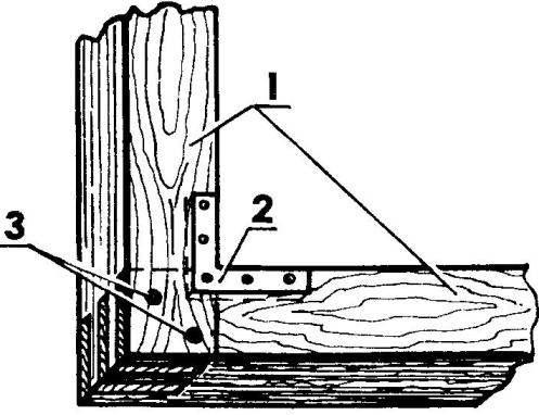 Угловое соединение брусков переплета