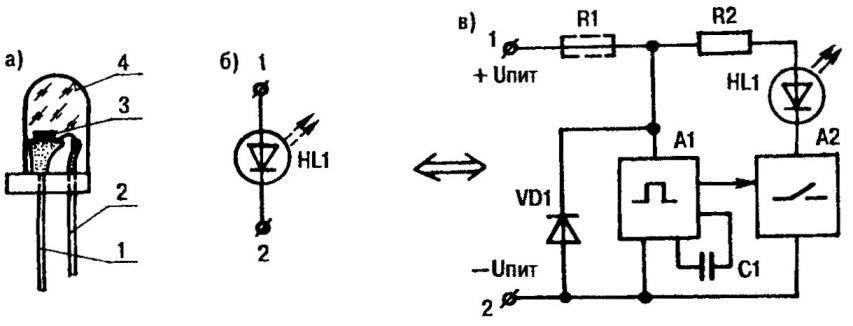 Рис. 1. Мигающий светодиод (а), его условное обозначение (6) и обобщенная функциональная схема (в)