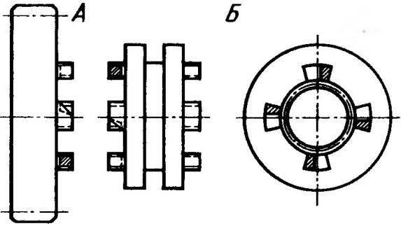 Детали механизма включения переднего хода в главной передаче заднего моста со спиленными под 45° нерабочими rhомками (заштрихованы)