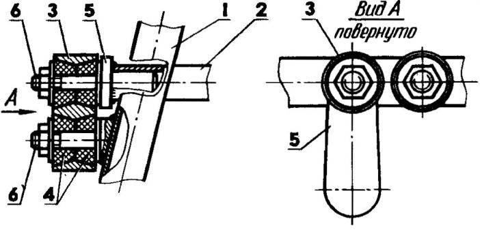 Узел соединения передней трапеции с передаточным валом (вид сверху)