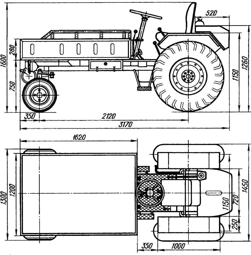 Трактор своими руками с двигателем ваз чертежи 44