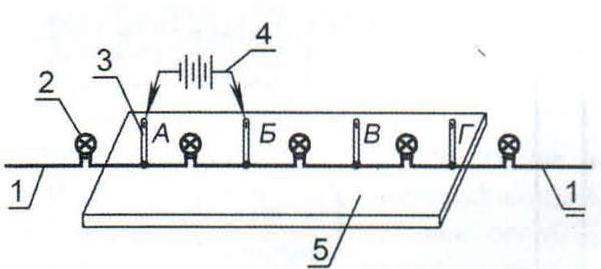 Fig. 2. The scheme of check of serviceability of lights Christmas garlands: 1 - wire insulation; 2 - light; 3 - needle (2-4 units); 4 - battery power supply (