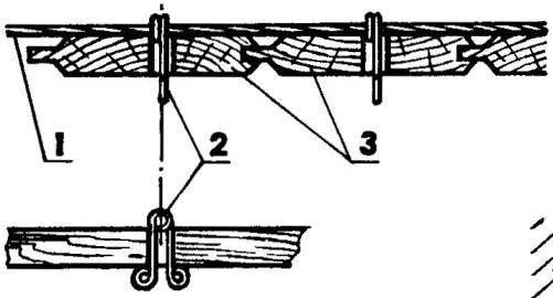 Крепление обшивки потолка с помощью монтажных «булавок»