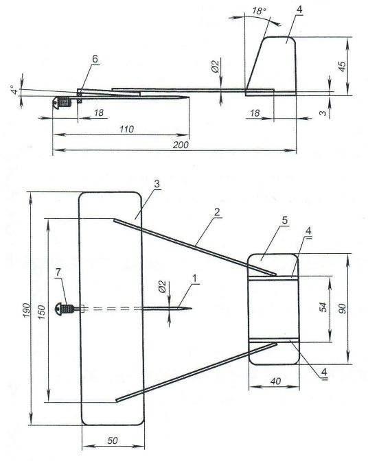 Комнатная модель планёра (схема - «рама»)