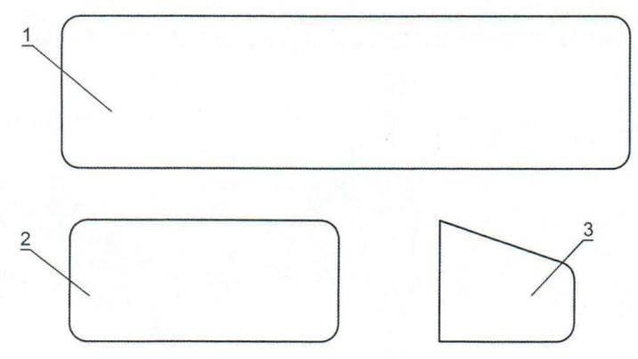 """Шаблоны деталей для комнатной модели планера по схеме """"рама"""": 1 - крыло; 2 - стабилизатор; 3 - киль"""