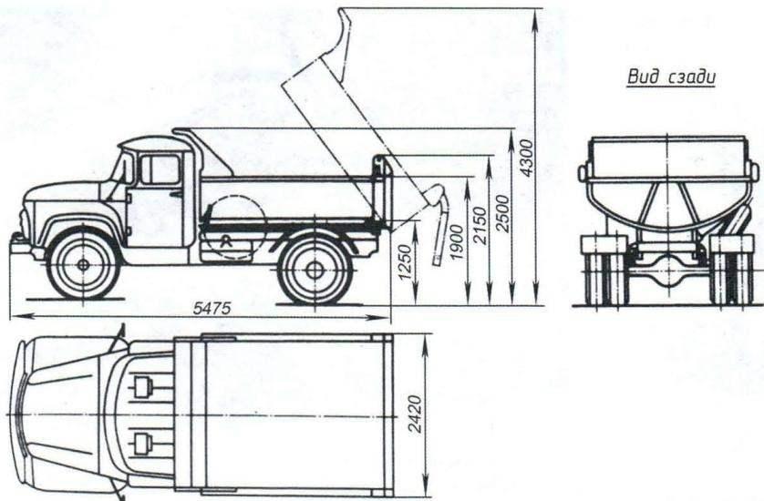 Основные размеры автомобиля-самосвала ЗИЛ-ММЗ-4502