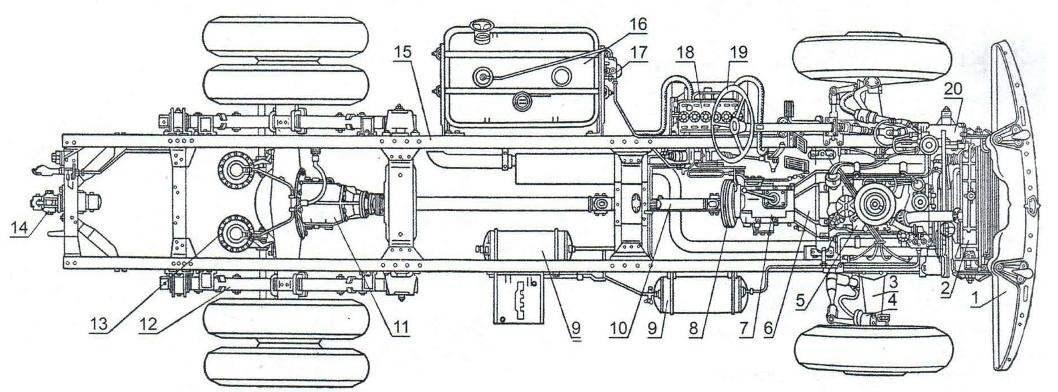 Компоновка автомобиля ЗИЛ-130