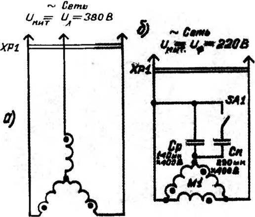 Варианты подключения электродвигателя к трехфазной (а) и однофазной (б) сети