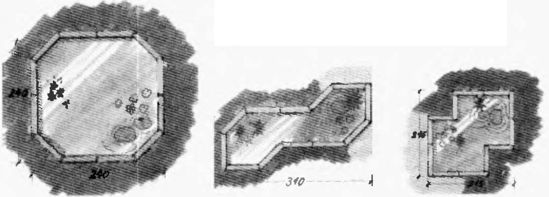 На фото вверху: декоративный бассейн на загородном участке. Возможные фирмы бассейна в плане