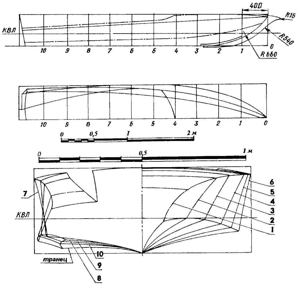 Теоретический чертеж корпуса мотолодки