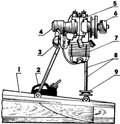 Силовая установка аэросаней «Выдра»: 1— корпус аэросаней; 2— топливный бак (пластмассовая канистра емкостью 5 л); 3— воздухоочиститель карбюратора; 4— магнето М24; 5— картер двигателя; 6— воздушный винт; 7— цилиндр двигателя; 8— дуги моторной рамы; 9— пусковой шкив