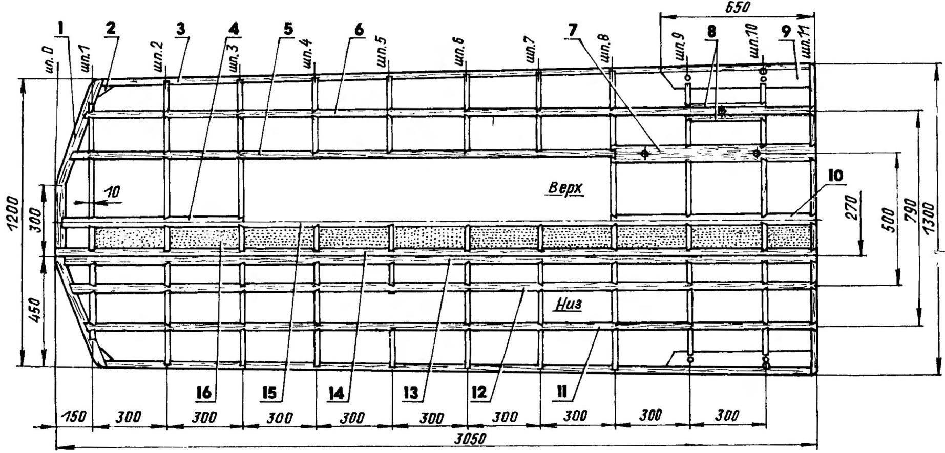 Основной силовой набор корпуса аэросаней
