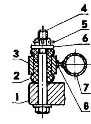Узел крепления двигателя к моторной раме: 1 —прилив картера двигателя; 2 — резиновая втулка; 3— обойма крепления двигателя; 4-болт М8х 1.5; 5 — шплинт; 6 — шайба; 7 — поперечина моторной рамы; 8 — косынка