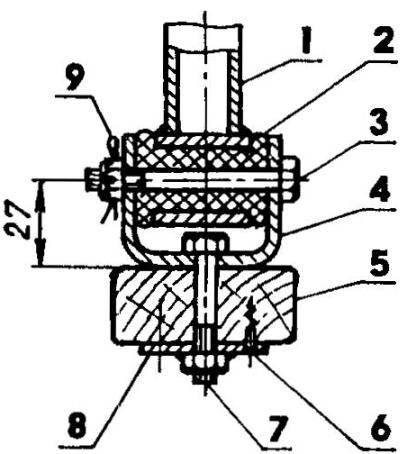 Узел крепления моторной рамы к корпусу аэросаней: 1 —дуга моторной рамы; 2 — резиновая втулка; 3,7—болты М8х1,5; 4 — кронштейн (сталь, полоса s3); 5 — стрингер под моторную раму (70x20); 6— шуруп 3x20 (2 шт.): 8 — шайба 25x25x3 с приваренной гайкой М8х1,5; 9 — шплинт