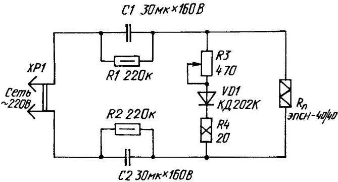 Circuit diagram of temperature controller soldering tip