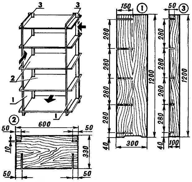 Составная тумбочка-этажерка