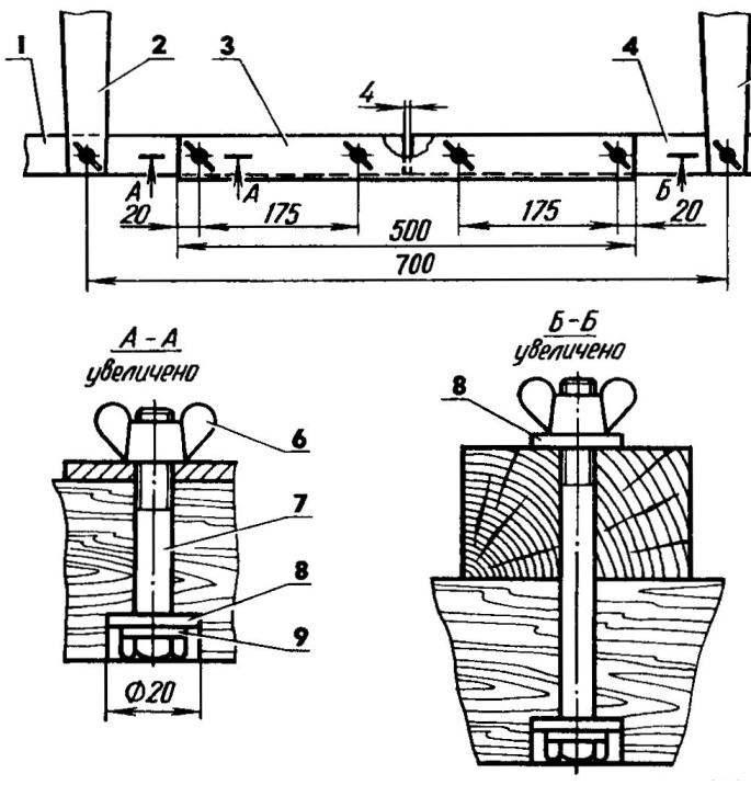 Рис. 3. Типовое соединение частей стрингеров и бимсов