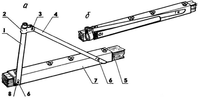Рис. 6. Поду ключина в рабочем (а) и сложенном положении (б)