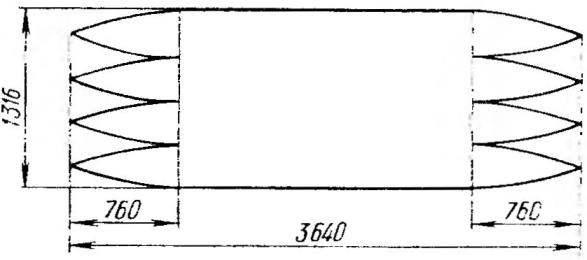 Рис. 8. Выкройка оболочки поплавка
