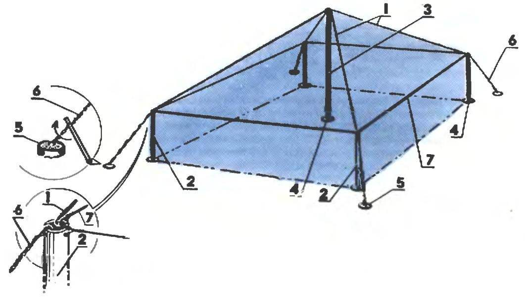 The frame of the greenhouse type tent