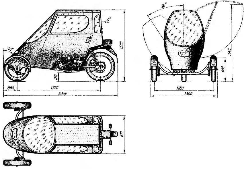 Трицикл с кабиной на основе мотоцикла ММВЗ-3.113 и передними колесами от мопеда.