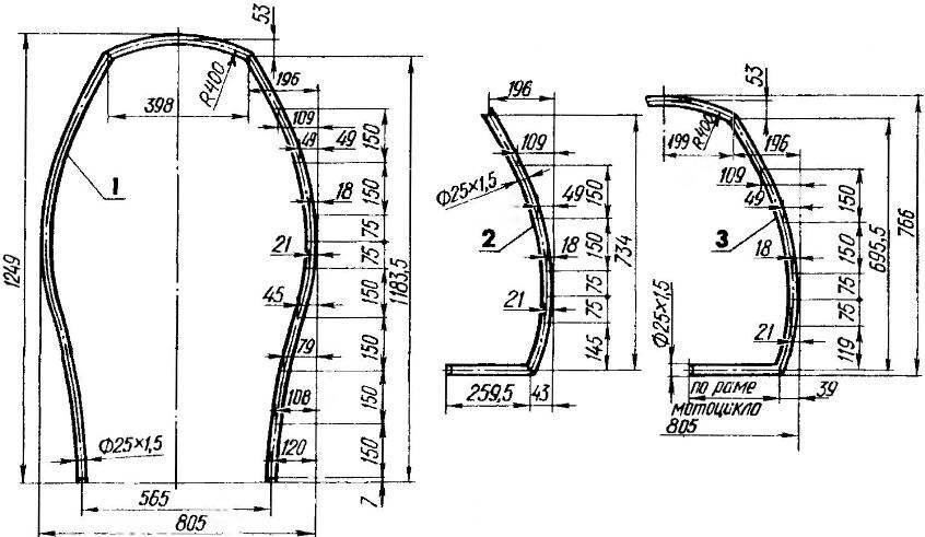 Дуги каркаса кабины: 1 передняя (труба 25х 1,5); 2 — средняя (. груба 25x1,5, 2 шт.); 3 — задняя (труба 25x1.5).