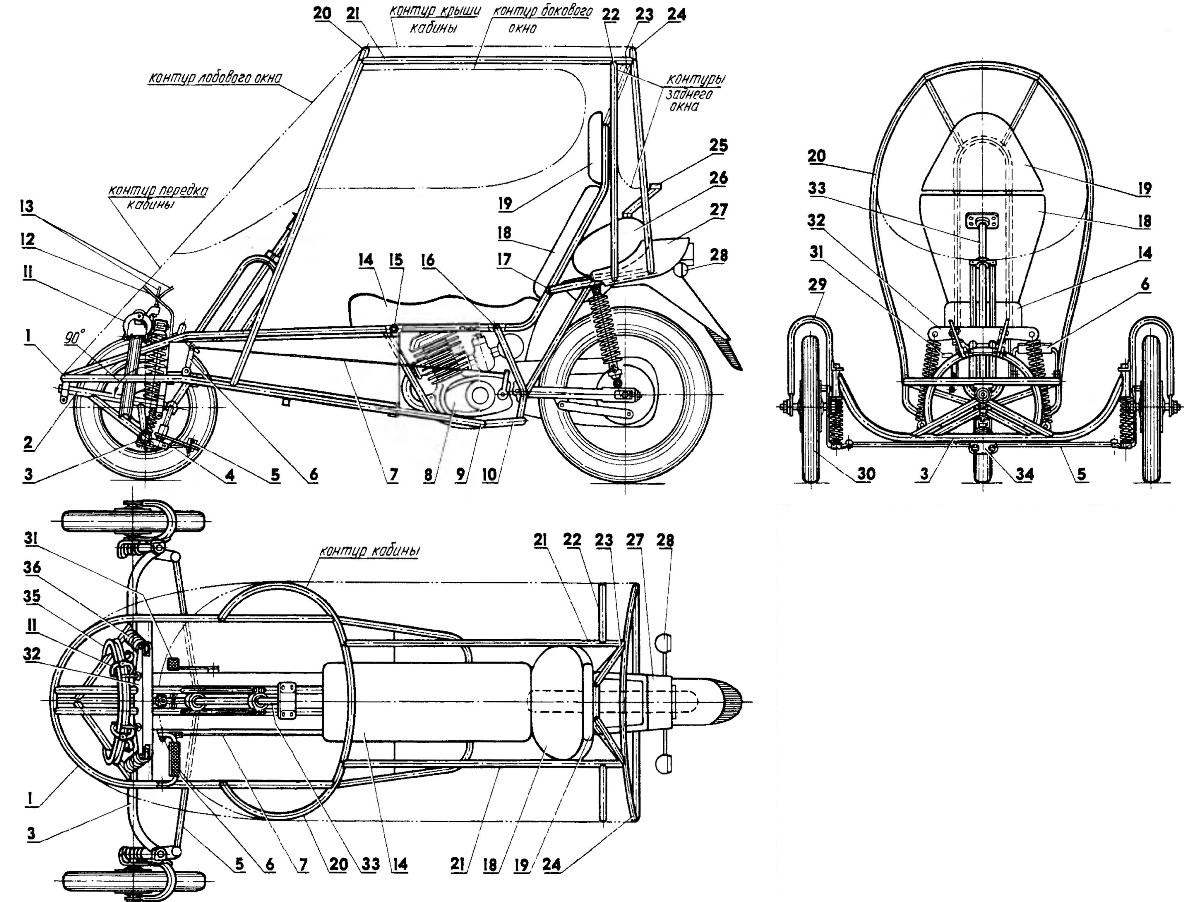 The layout of the tricycle (the left wheel on the side view not shown)